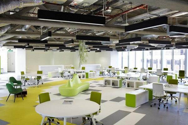 xu hướng thiết kế nội thất văn phòng kiểu mới- cởi mở, năng động, sống xanh